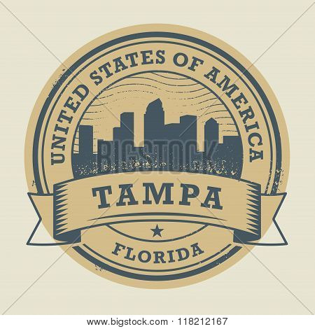 Stamp With Name Of Tampa, Florida