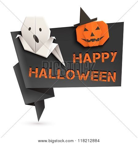 Halloween Speech Bubble With Origami Ghost And Pumpkin. Vector Illustration, Eps10.