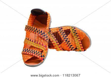Close Up Of Orange Color Elastic Shoes Isolated On White Background
