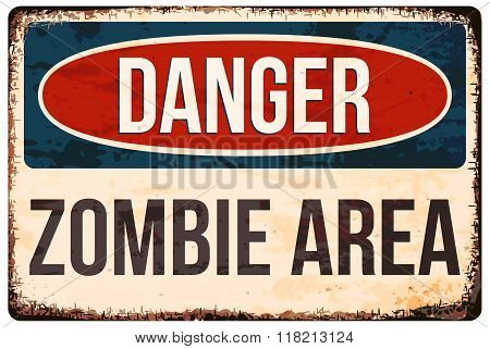 Halloween Warning Sign. Danger, Zombie Area. Vector Illustration, Eps10.