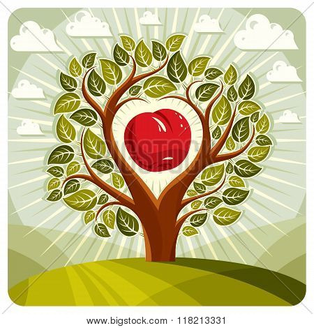 Vector Illustration Of Tree With Branches In The Shape Of Heart With An Apple Inside, Beautiful Spri