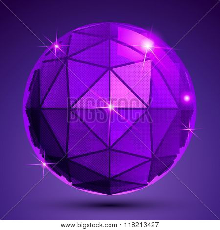 Dotted radiance plastic contemporary spherical object with flashes pixilated sparkle purple globe.