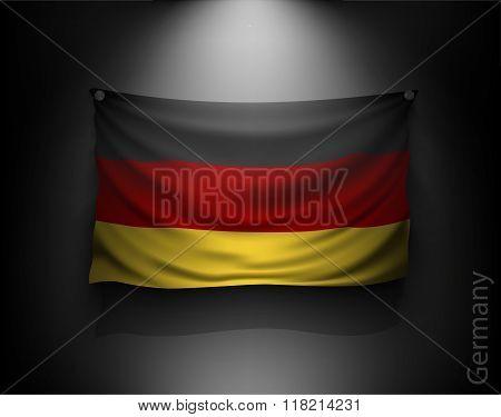Waving Flag Germany On A Dark Wall