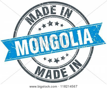 made in Mongolia blue round vintage stamp