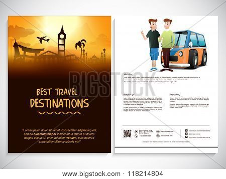 Creative two page Template, Banner or Flyer design for tour and travel concept.