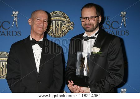 LOS ANGELES - FEB 14:  Roberto Schaefer, Matyas Erdely at the 2016 American Society of Cinematographers Awards at the Century Plaza Hotel on February 14, 2016 in Century City, CA
