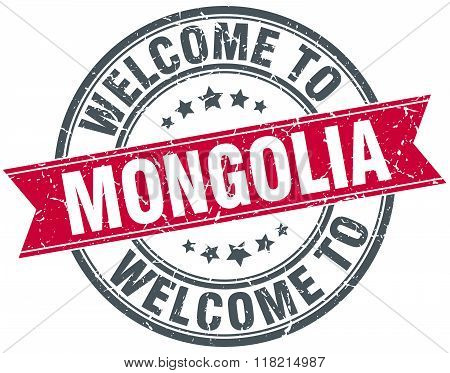 welcome to Mongolia red round vintage stamp