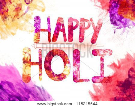 Creative colourful text Happy Holi with glossy water gun for Indian Festival of Colours celebration.