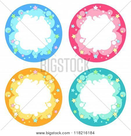 Set Of Four Round Frame Different Colors With Fireworks Stars.