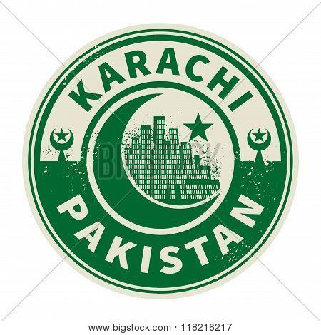 Emblem With Text Karachi, Pakistan Inside