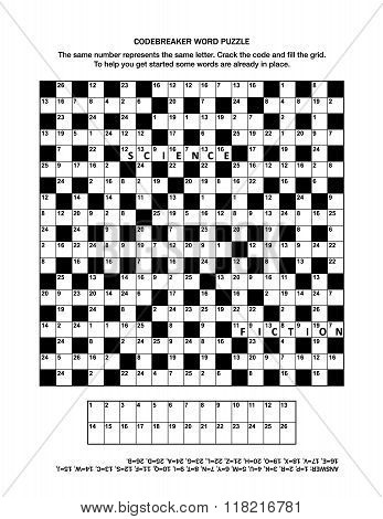 Puzzle page with codebreaker word game