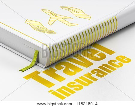 Insurance concept: book Airplane And Palm, Travel Insurance on white background
