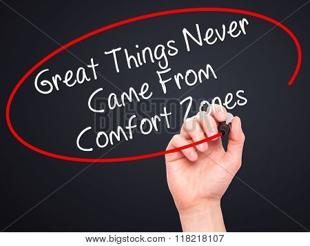 Man Hand Writing Great Things Never Came From Comfort Zones With Black Marker On Visual Screen