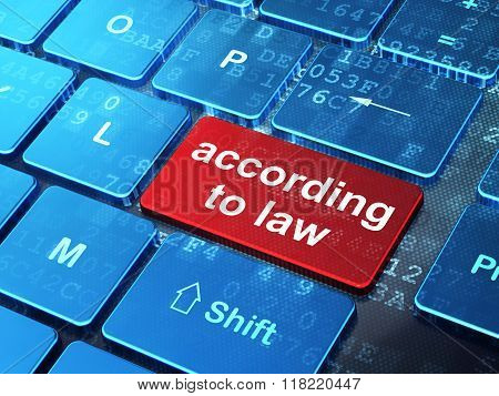 Law concept: According To Law on computer keyboard background