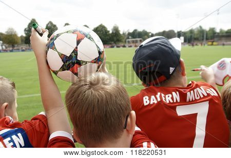 Young Fans At The A Training Session Of Fc Bayern Muenchen