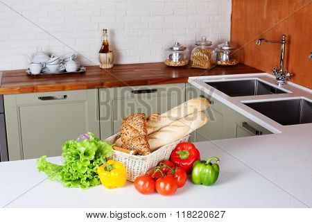 kitchen design light fresh vegetables, bread basket, lettuce, peppers, tomatoes, shopping, cooking t