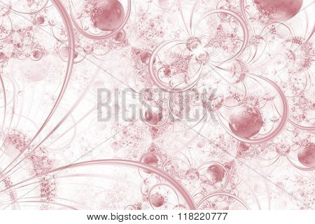 Purple Fractal Background With Rings And Orbs