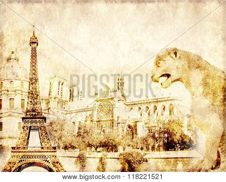 Grunge background with paper texture and landmarks of Paris - Eiffel tower, Les Invalides, Notre Dam de Paris