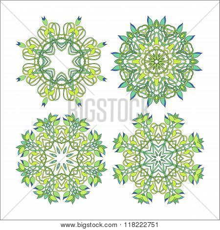 Vector Set Of Four Floral Circular Design Elements