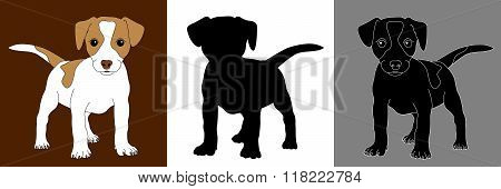 fox terrier puppy dog silhouette set isolated
