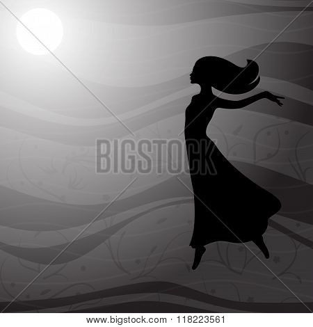Flying woman in long dress with long hair