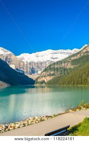 Majestic mountain lake in Canada. Louise Lake view in Banff, Alberta, Canada. Rocky Mountains.