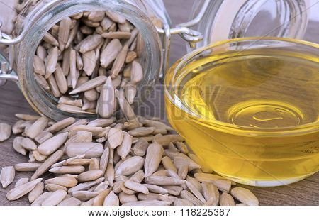 Sunflower Seeds In A Mason Jar