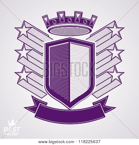Empire Stylized Vector Graphic Symbol. Shield With 3D Flying Stars And Imperial Crown. Clear Eps8 Co