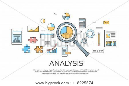 Analysis Concept Finance Diagram Infographic Magnifying Glass Set Thin Line Collection