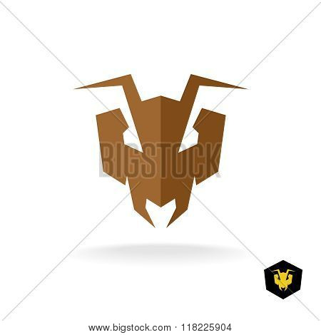 Ant Head Logo. Serious Face Of The Predator Bulldog Ant Stylized Sign.