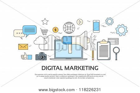 Digital Marketing Laptop Business Megaphone Device  Loudspeaker Web Banner Set