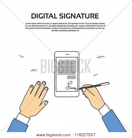 Digital Signature Smart Cell Phone Businessman Hands Sign Up