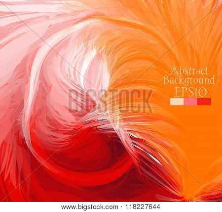 Macro Feathers. White, Orange, Red.