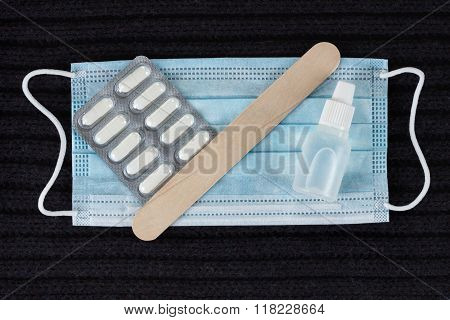 Medicine Concept - Pill, Spatula, Tablet And Mask