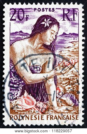 Postage Stamp French Polynesia 1958 Girl With Shells On Beach
