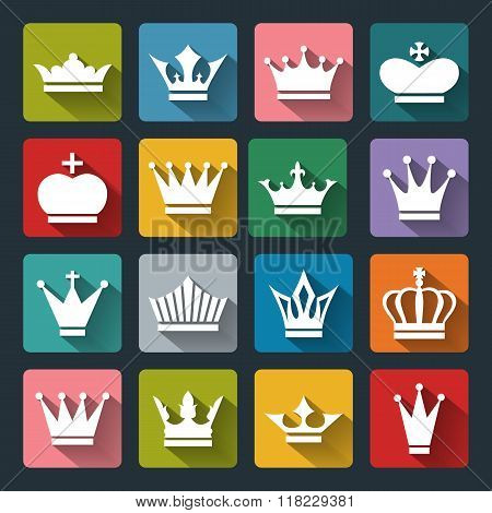 Set Of Vector Crown Icons In Flat Style