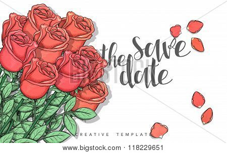 Design wedding postcard with roses petals and calligraphy congratulation