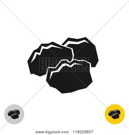 Coal Black Rocks Icon. Three Pieces Of A Coil Together Symbol. Monochrome Color Style.