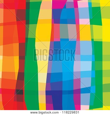 Colorful Vivid Bright Rainbow Abstract Background. Smooth Curve Lines With Stripes. Transparency Are