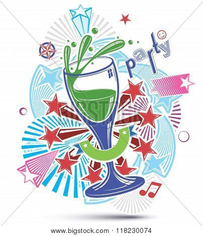 Celebrative leisure backdrop with musical notes glass goblet and decorative stars. Graphic festive splash poster with design elements easy to use separately.