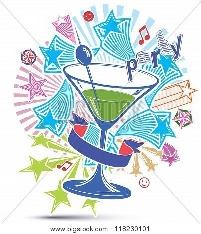 Celebrative leisure backdrop with musical notes and glass martini goblet with decorative stars. Party design elements easy to use separately. Lounge theme poster.