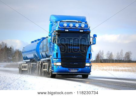 Blue Scania R500 Tank Truck On Winter Road