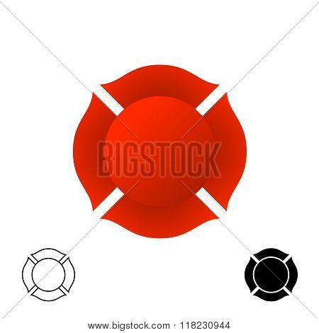 Firefighter Emblem Background Silhouette. Red Color And Black Monochrome Versions Of A Badge.