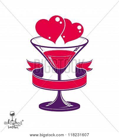 Valentines day festive illustration martini glass with decorative ribbon two loving hearts, wedding anniversary celebration theme.