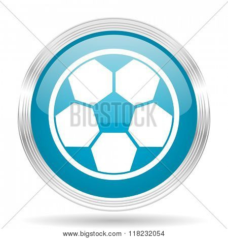 soccer blue glossy metallic circle modern web icon on white background