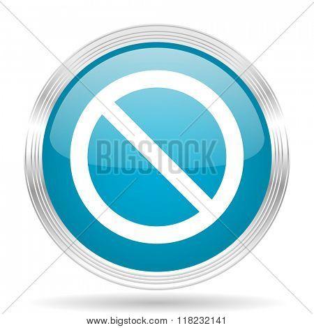 access denied blue glossy metallic circle modern web icon on white background