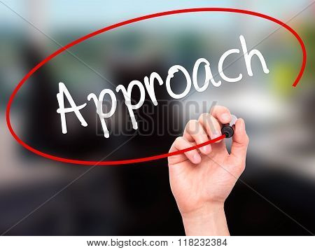 Man Hand Writing Approach With Black Marker On Visual Screen