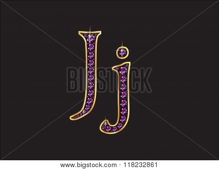 Jj Amethyst Jeweled Font With Gold Channels