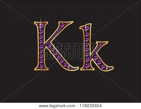 Kk Amethyst Jeweled Font With Gold Channels