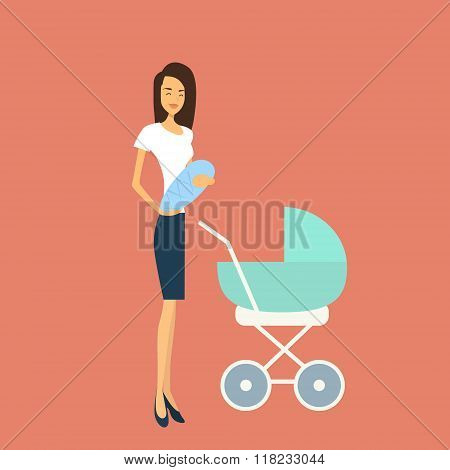Young Mother With Baby Newborn Pram